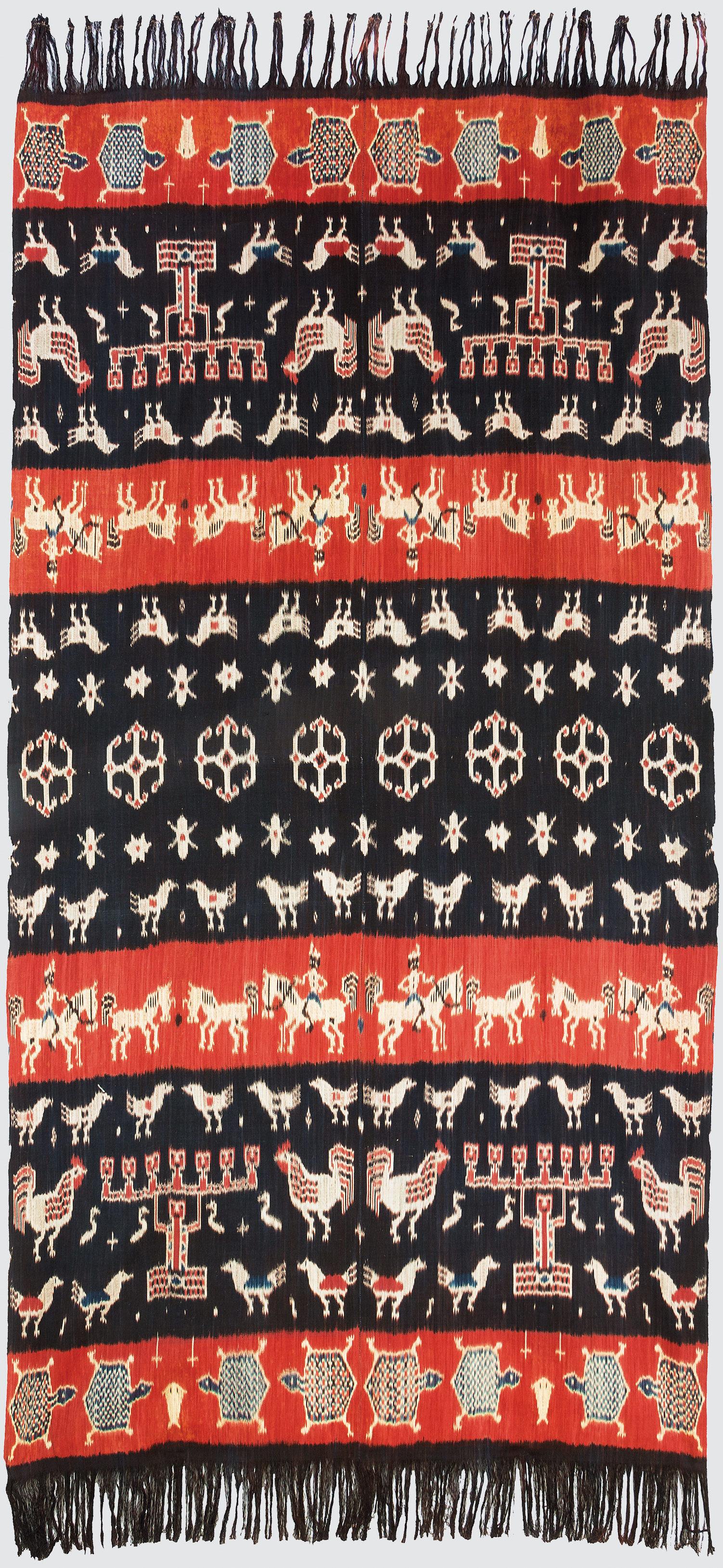 Hinggi Kombu, tissu d'épaule pour les chefs, 118 cm x 230 cm, coton, ikat chaîne, collecté en 1992, Kaliuda, Sumba, Indonésie. Photo Rémy Prin